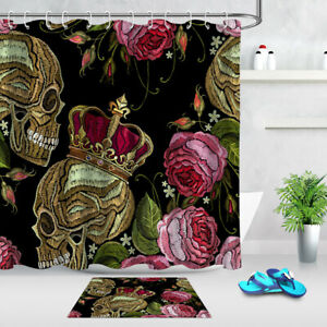 Black Background Embroidered Skull and Flowers Shower Curtain Set Bathroom Decor