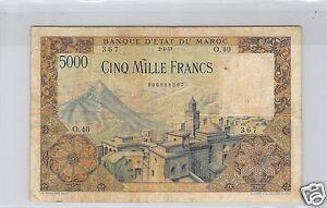 BANQUE D'ETAT DU MAROC 5 000 FRANCS 2.4.1953 ALPHABET O.40 PICK 49 RARE !!!