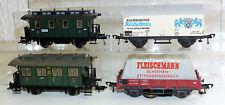 4x Fleischmann: 5051, 5058 Personenwagen, 5046, 5569 Güterwagen H0