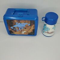 Vintage Aladdin Plastic Lunchbox Disney Blue with Thermos Bottle