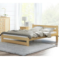 White Solid Pine Wooden Bed Frame 4ft Small Double Size 120x190 slatted mattress
