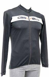 Castelli Long Sleeve Cycling Jersey Men LARGE Black Italia Road Bike Gravel MTB