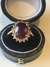 9ct 375 9K Stunning Raspberry Rhodolite & Topaz Gold Ring Size N Hallmarked