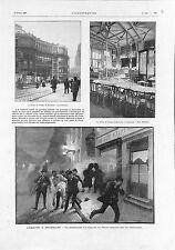 Maison du Peuple Emeutes à Bruxelles décret Léopold II de Belgique GRAVURE 1902