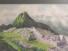 Orig. Watercolor Painting MACHU PICCHU INCA RUINS PERU  precise work  pro framed