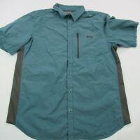 Columbia Shirt Short Sleeve Pockets Adult Gray Large Outdoor Hiking