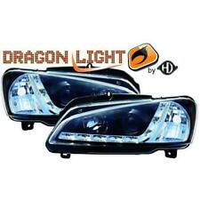 LHD Projector Headlights Pair LED Dragon Clear Black For Peugeot 106 95-05