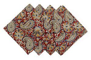 Hand Block Print 100%Cotton Voile Fabric Table Napkins Paisley Indian Set 4 Pcs