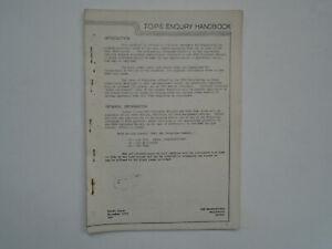 B.R. TOPS Enquiry Handbook. Loco & wagon listings / codes etc.