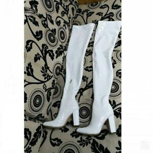 Womens Block Heels Over The Knee Stretch Thigh High Boots Club Patent Leather SZ