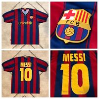 FCB Official Lionel MESSI Barcelona UNICEF Soccer Jersey Boys Sz Large 🚚FREE📦