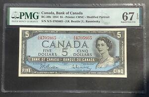 Canada,Bank of Canada,1954,5 Dollars,PMG 67 EPQ