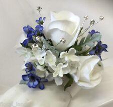 SILK WEDDING WRIST CORSAGE FLOWER WHITE ROSE BLUE FLOWERS DIAMANTE CORSAGES PROM