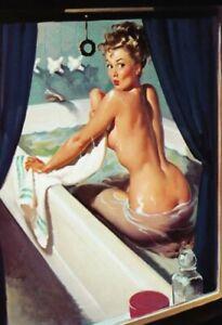 Badewanne Pin Up Girl Blechschild Schild gewölbt Tin Sign 20 x 30 cm FA0051