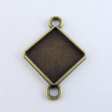 35PCS Antique Bronze Alloy Square Cameo Setting Connector Pendant Inner 15*15mm