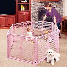 Superyard Portable Classic 6 Panel Baby Playard Indoor Outdoor Safety Gate Pink