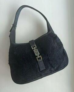 GUCCI Pre-owned JACKIE small hand bag |Black velvet silk JACKIE bag |Mini Pochet