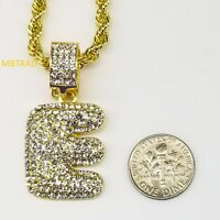 "E  Initial Custom Bubble Letter Gold Plated Iced CZ Pendant 24"" Chain Necklace"