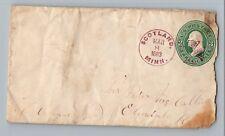 Scotland Minnesota Fillmore CO 1883 Purple Maltese Cross Fancy Cancel DPO Cover