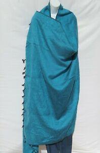 Blanket/Throw | Yak Wool Blend |Nepal |Handmade |Over-Sized | Turquoise & Black