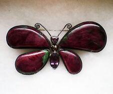 Sterling Silver Alexandrite Ruby Zoisite Butterfly Brooch Pendant Enhancer 81.4g