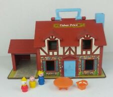 Fisher Price 1980 Little People House 952 Play Family Hinges Open Tudor Home