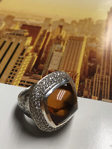 NEW DAVID YURMAN HUGE HAMMERED STERLING ALBION RING WITH CITRINE & Diamonds