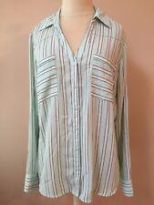 The Portofino Shirt by Express Mint Green White Black Stripe Convertible Sleeve