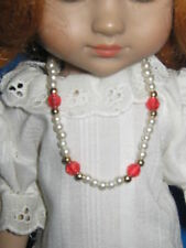 """Doll Necklace-Pearls w/ Red & Gold Beads-Fits 10"""" Doll"""