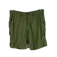 Billabong Mens Shorts Size 32 Green Zip Closure Bermuda With Pockets