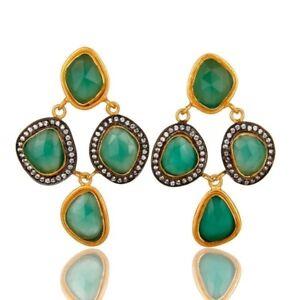 18K Gold Plated Silver Green Onyx CZ Chandelier Earrings Gemstone Jewelry
