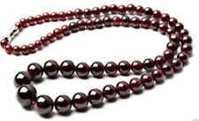 Genuine Natural 5-12mm Garnet Round Gemstone Beads Necklace Jewelry 18""