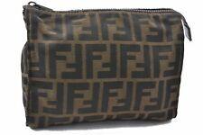 Authentic FENDI Zucca Pouch Nylon Brown A6870