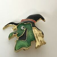 "Vintage Witch Brooch Enamel Goldtone Googly Eye Approximately 1.75"""