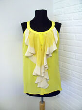 d4a4e13fbcfc8b Chelsea Flower Silk Yellow Ombre Ruffle Front Top - size Small