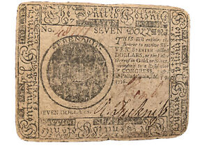RARE! $7 Continental Colonial Currency May 9th, 1776 Printed by Hall & Sellers