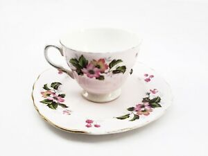 Colclough Vintage Bone China Pink Teacup Teaset Duo, England: Ridgeway Potteries