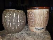 Set of 2 Stockton Islander California tiki mugs bucket bowl coconut bowl