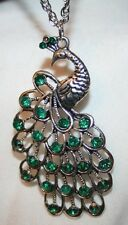 Lovely Openwork Silvertone Peacock Green Rhinestone Pendant Necklace