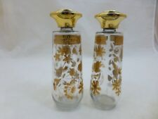 CULVER 22k GOLD Glass SALT & PEPPER SHAKERS Eames MCM Atomic CHANTILLY Pattern