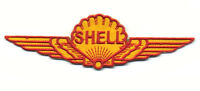 shell wings patch badge gasoline motor oil service station hot rod drag race