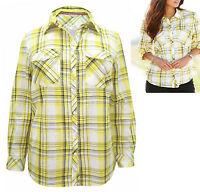Marisota Yellow White Cotton Checked Long Sleeve Shirt Plus Size 24,26,30,32 £22