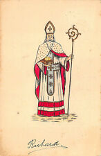 Christmas Santa Claus White Robed Wien Embossed Postcard
