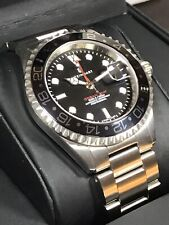 STEINHART GMT Ocean One Black Swiss Men's Diver Automatic 21J Watch 30ATM 42mm
