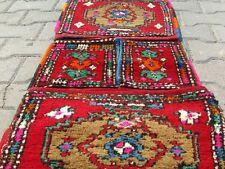 "Antique 1'5""x4'5"" Natural Dyes Wool Pile Donkey Bag-Tribal Gift Bag Turkey"