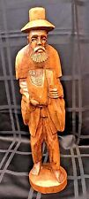 """Carved Wood Figurine Barefoot Bearded Man with Hat & Groceries 15 1/2"""" Tall"""