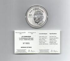 FRANCE monnaie 10 euros LE CORBUSIER  Archit. 2015 Argent belle epreuve 5000 Ex