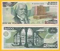 Mexico 2000 Pesos p-86c 1989 (Serie DT) UNC Banknote