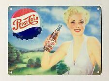 Pepsi Cola Blonde Woman - Tin Metal Wall Sign
