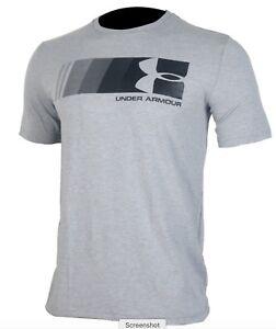 Under Armour * UA Fast Left Chest Logo Grey T Shirt Charged Cotton Heatgear Men